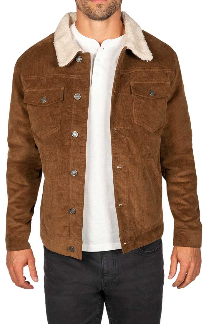 Khaki Sherpa Stretch Corduroy Trucker Jacket