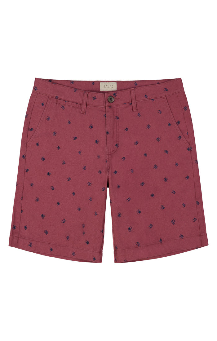 Red Fish Print Stretch Chino Short - jachs