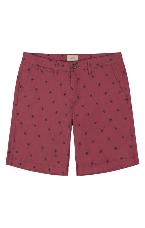 Red Fish Print Stretch Chino Short