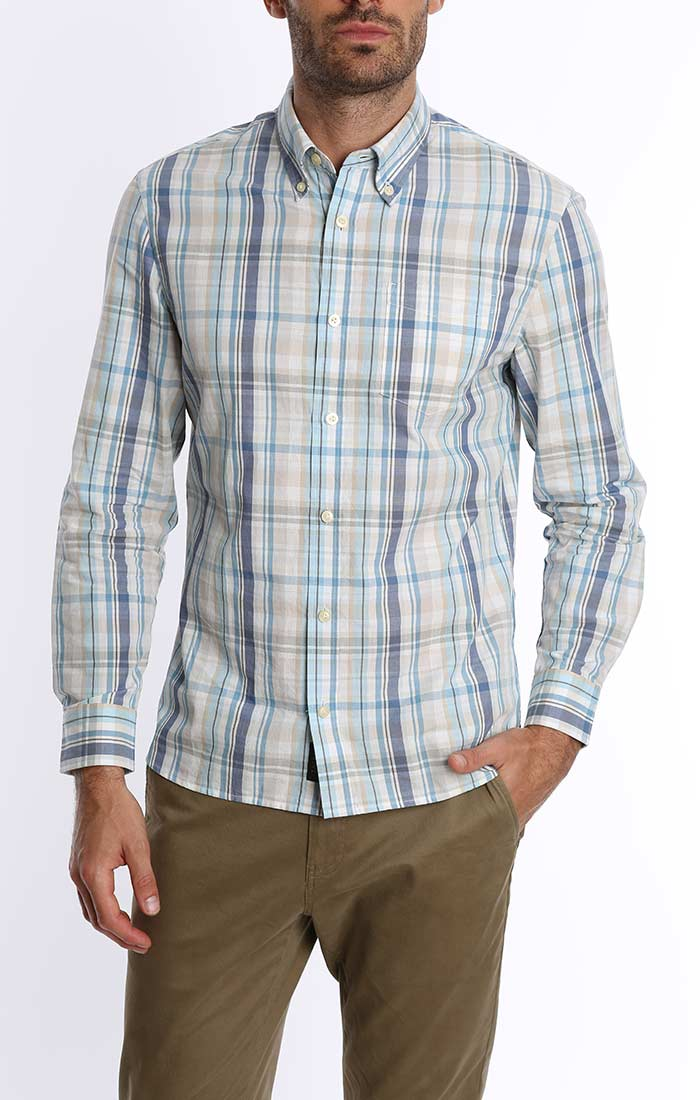 Light Blue Madras Plaid Shirt