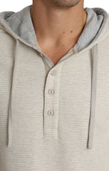 Ivory Striped Fleece Hooded Henley - jachs