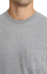 Light Heather Grey Sueded Cotton Pocket Tee - jachs