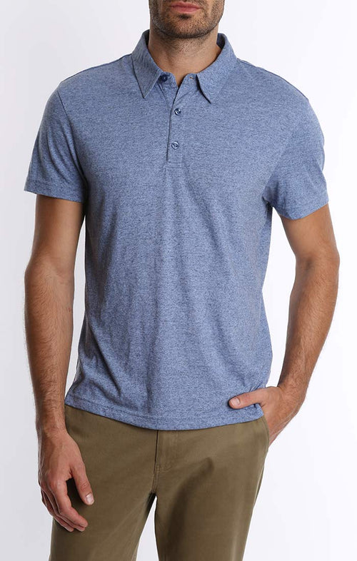 Blue Stretch Linen TriBlend Polo