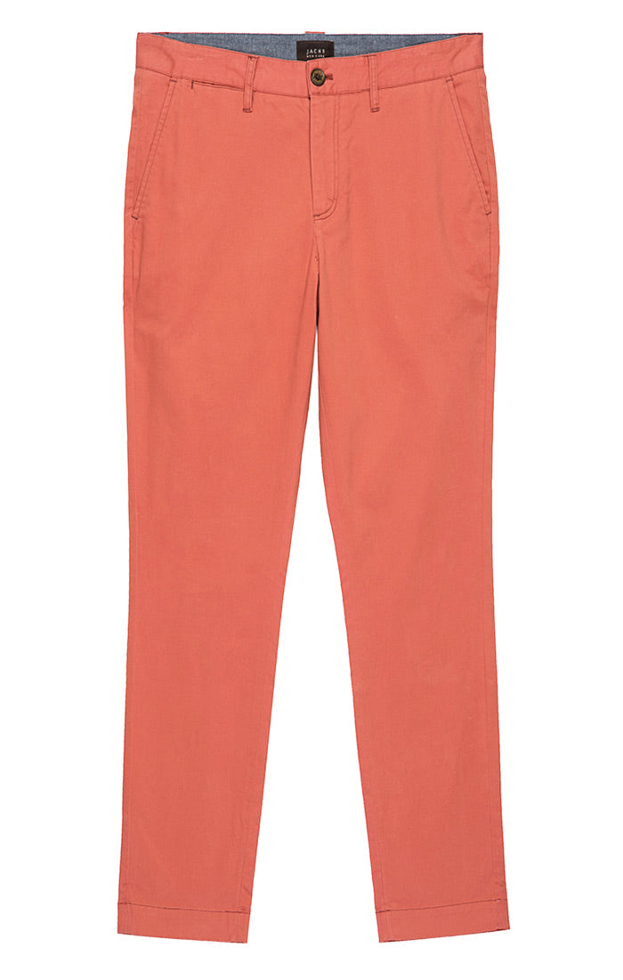 Light Red Straight Fit Stretch Bowie Chino - jachs