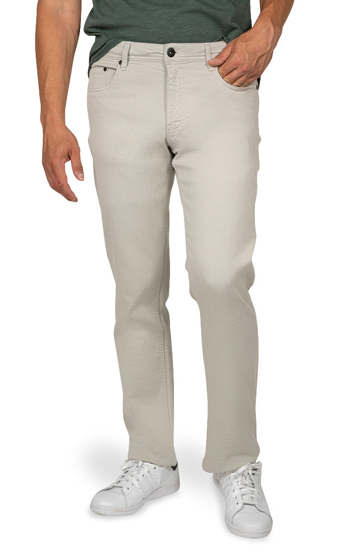 Light Grey Straight Fit Stretch Twill Pant - jachs