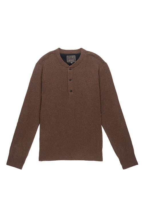 Brown Wool Blend Sweater Henley