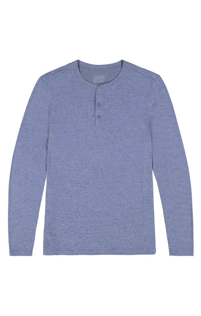 Blue Linen TriBlend Long Sleeve Henley - jachs