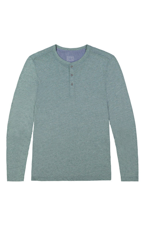 Green Linen TriBlend Long Sleeve Henley