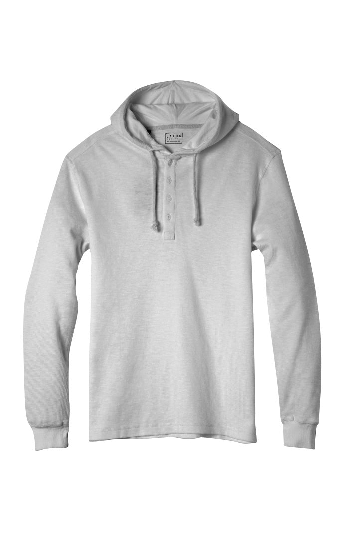 Light Heather Grey Slub Cotton Hooded Henley - jachs