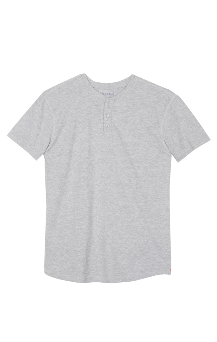 Light Heather Grey Sueded Cotton Short Sleeve Henley