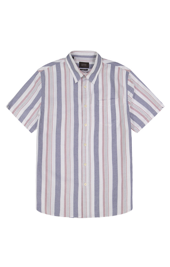 Navy and Red Stripe Short Sleeve Oxford Shirt - jachs