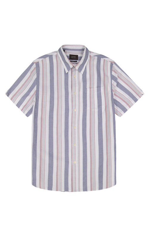 Navy and Red Stripe Short Sleeve Oxford Shirt