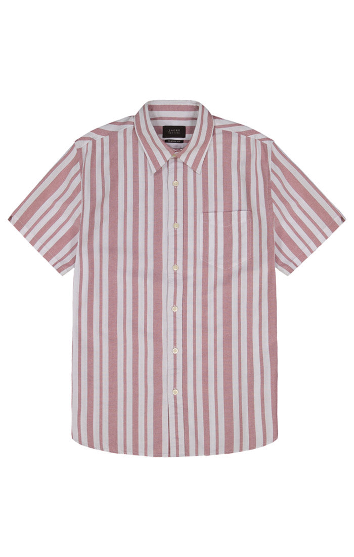 Red Stripe Short Sleeve Oxford Shirt - jachs