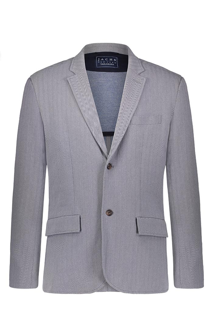 Light Grey Stretch Herringbone Blazer