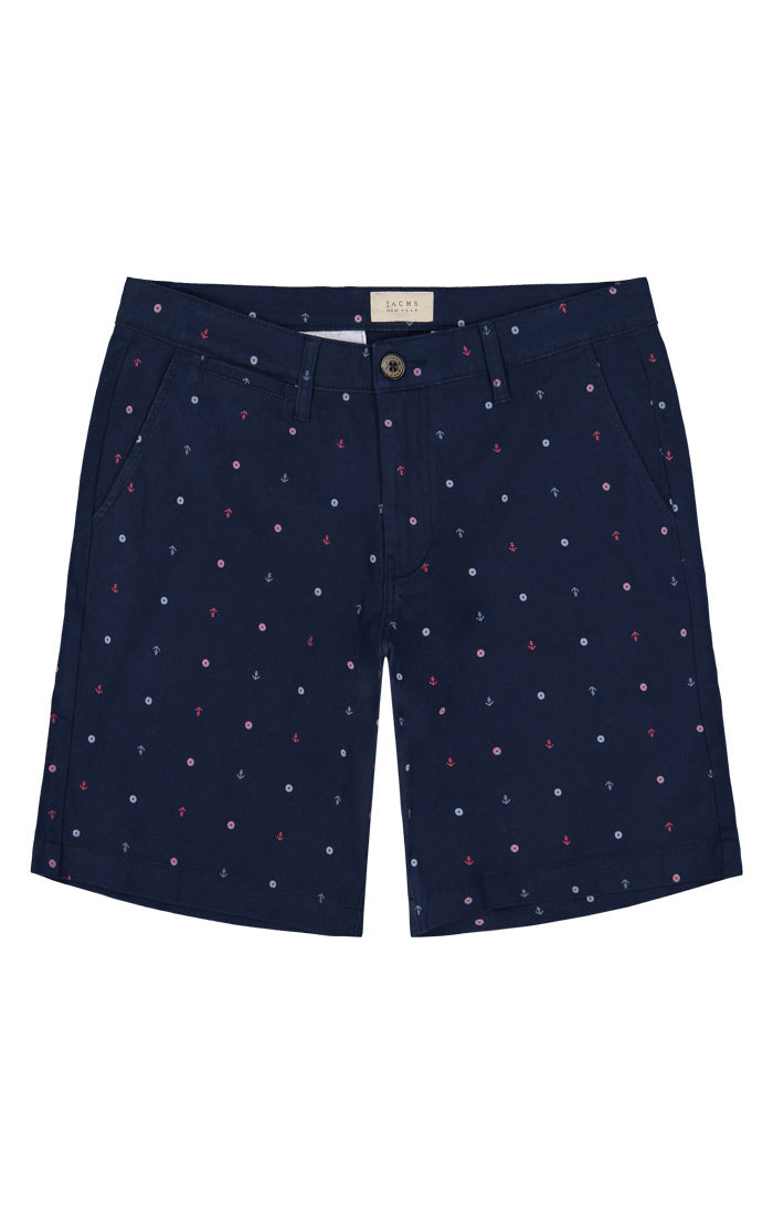 Anchor Print Stretch Chino Short - jachs