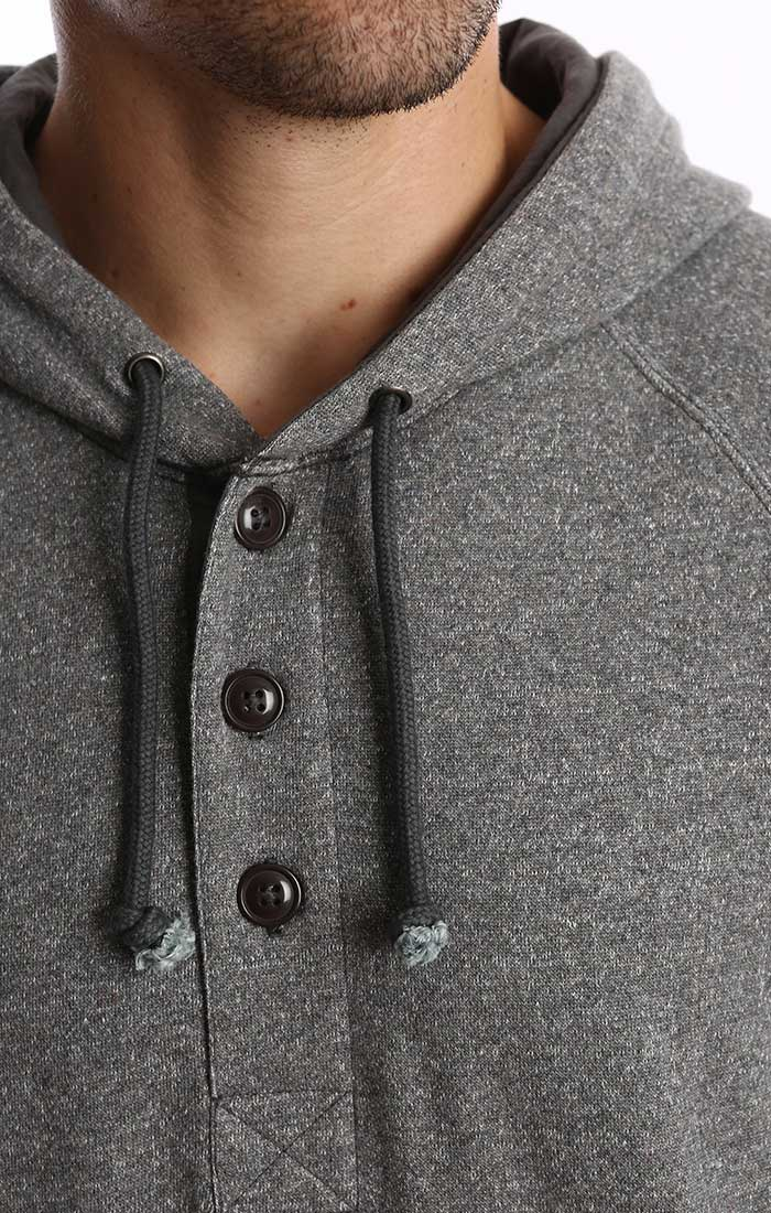 Charcoal Melange Fleece Hooded Henley