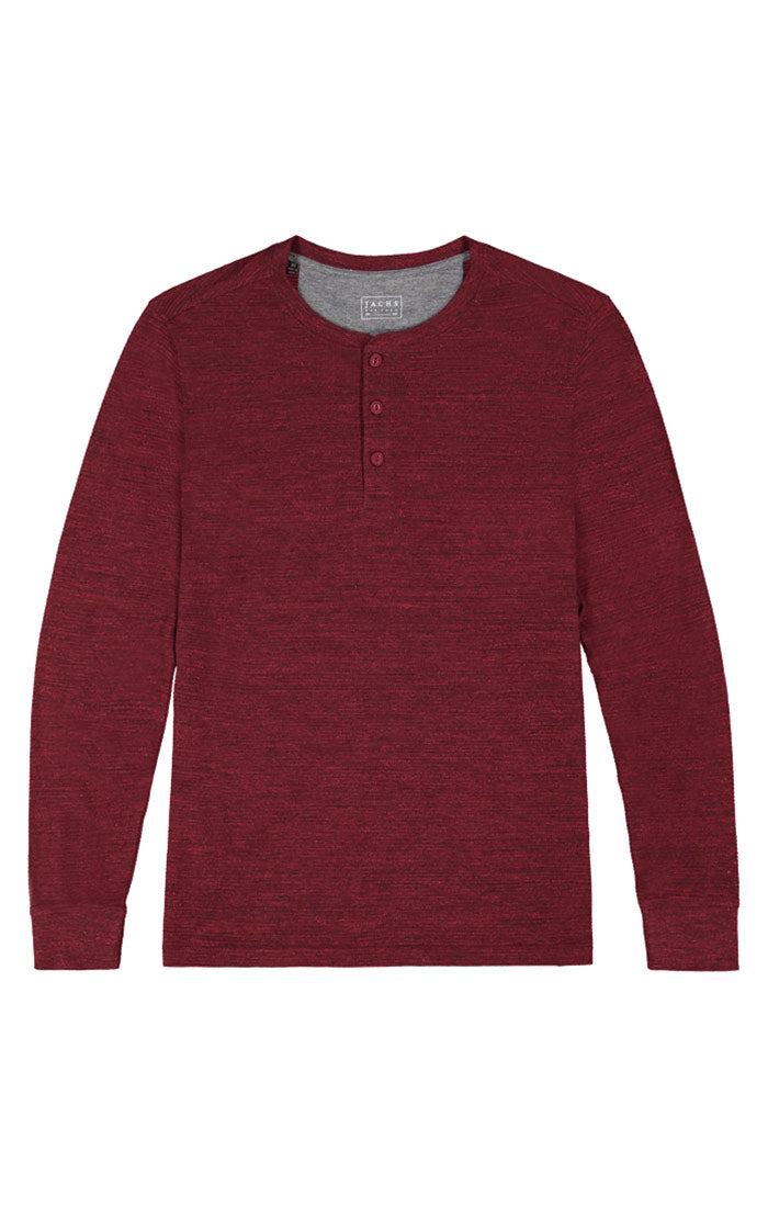 Burgundy Marled Long Sleeve Henley
