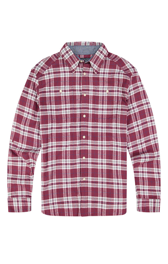 Maroon Plaid Flannel Shirt - jachs