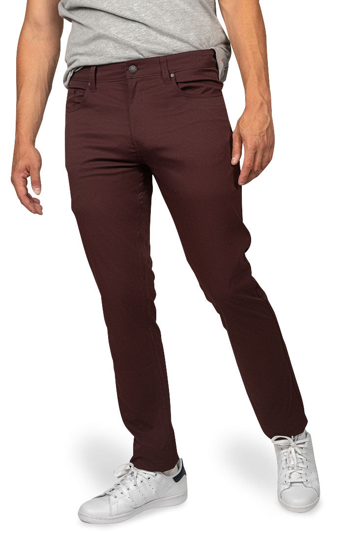 Maroon Straight Fit Stretch Tech Pant - jachs