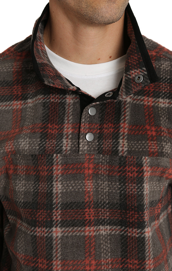 Grey Plaid Fleece Mock Neck Pullover - jachs