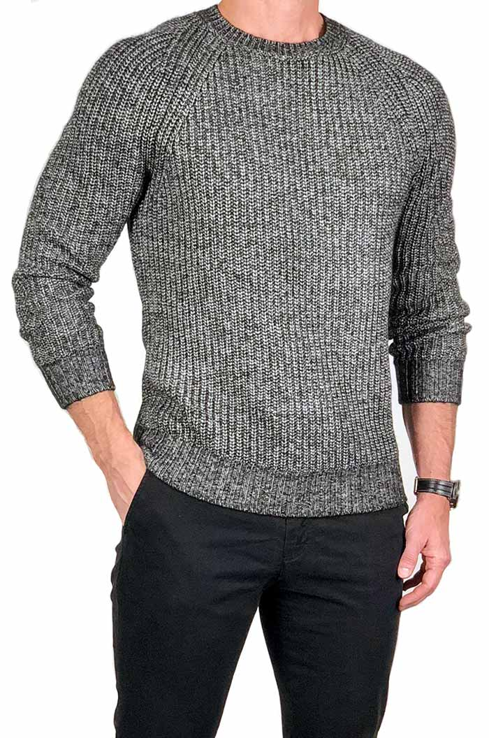Chared Marled Ribbed Crewneck Sweater - jachs