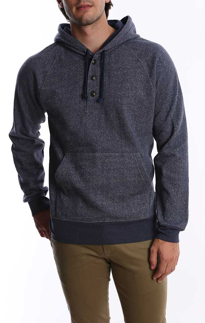 Blue Melange Fleece Hooded Henley - jachs
