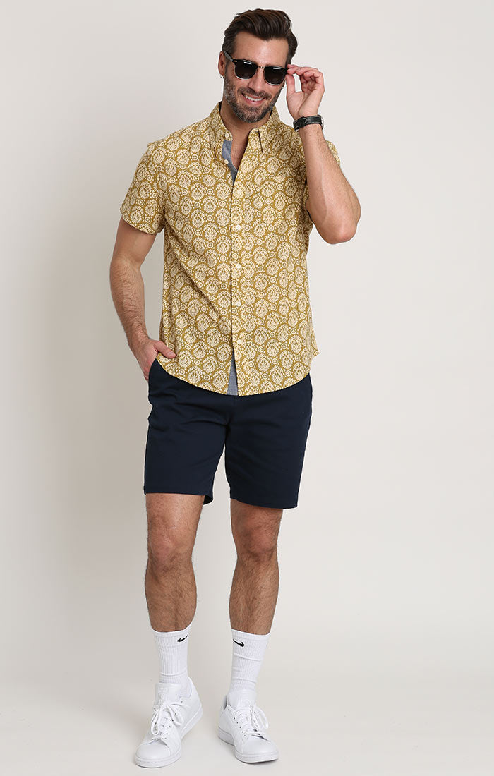 Gold Block Print Stretch Short Sleeve Shirt - JACHS NY