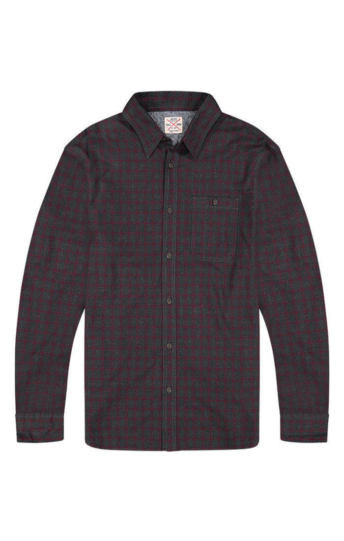 Charcoal Micro Plaid Brushed Flannel Shirt