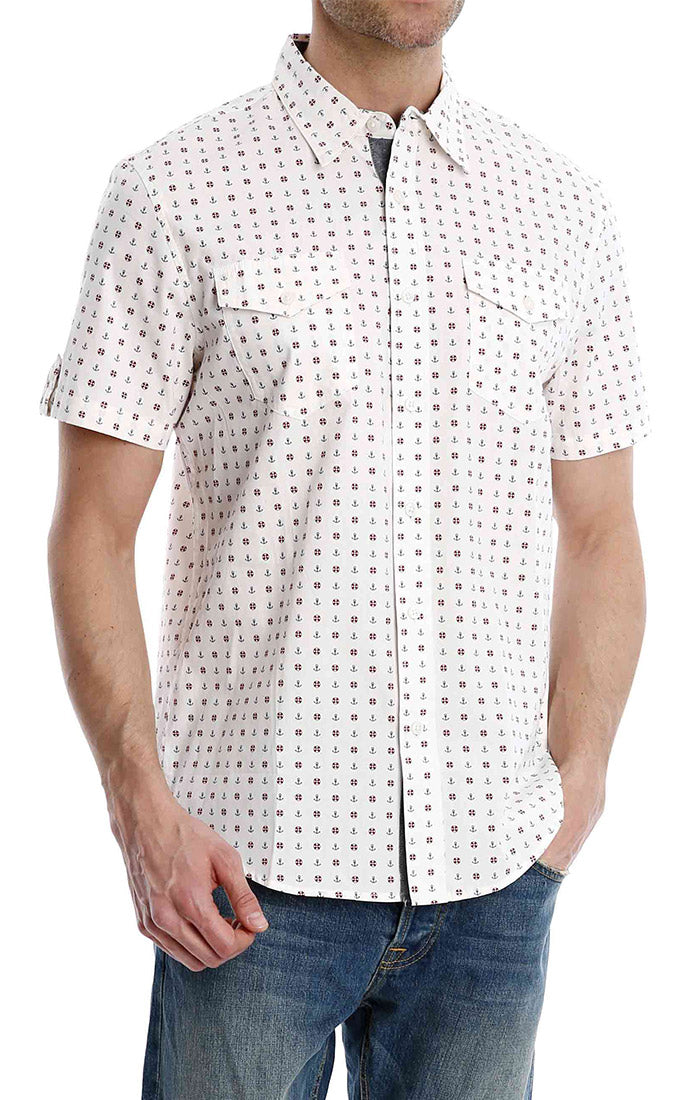 Nautical Print Short Sleeve Shirt