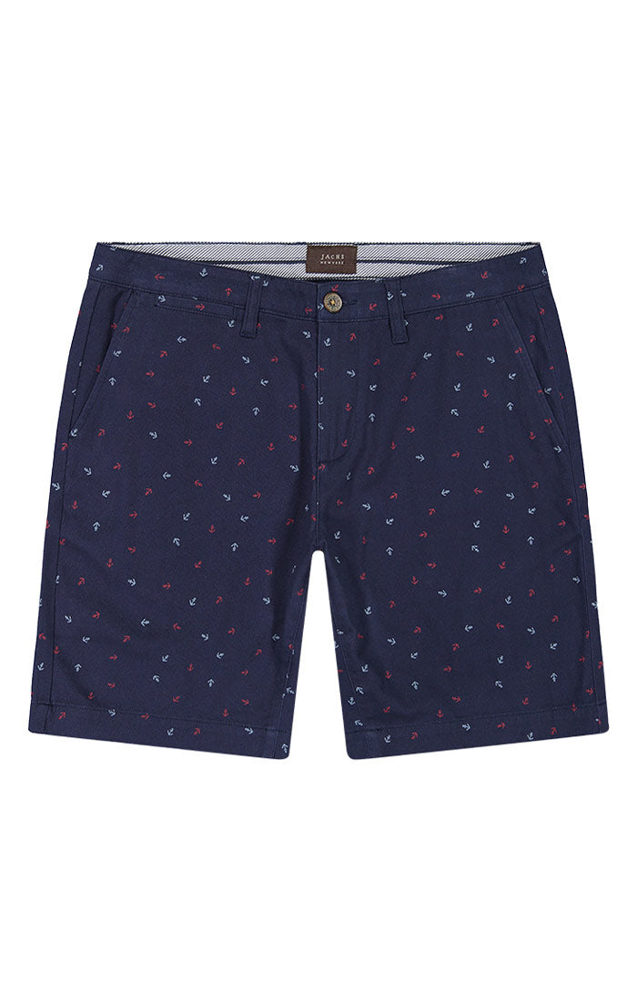 Navy Anchor Print Stretch Chino Short
