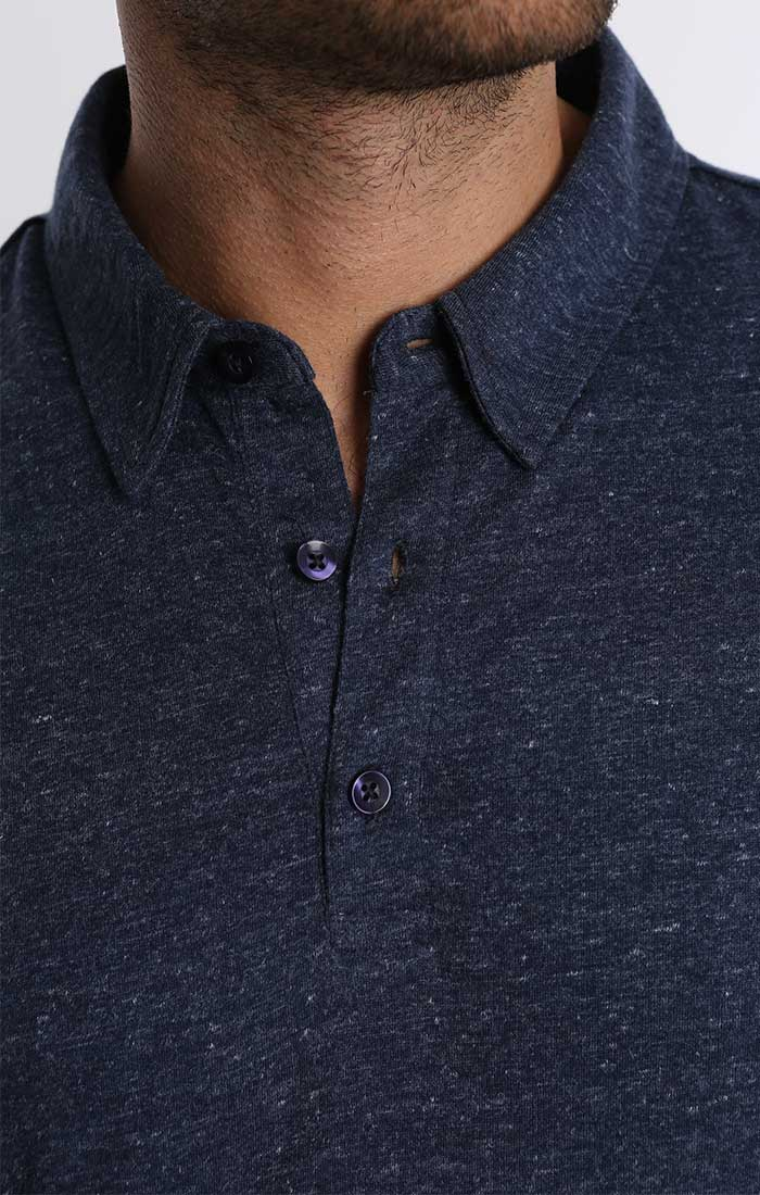 Indigo Stretch Linen TriBlend Polo - jachs