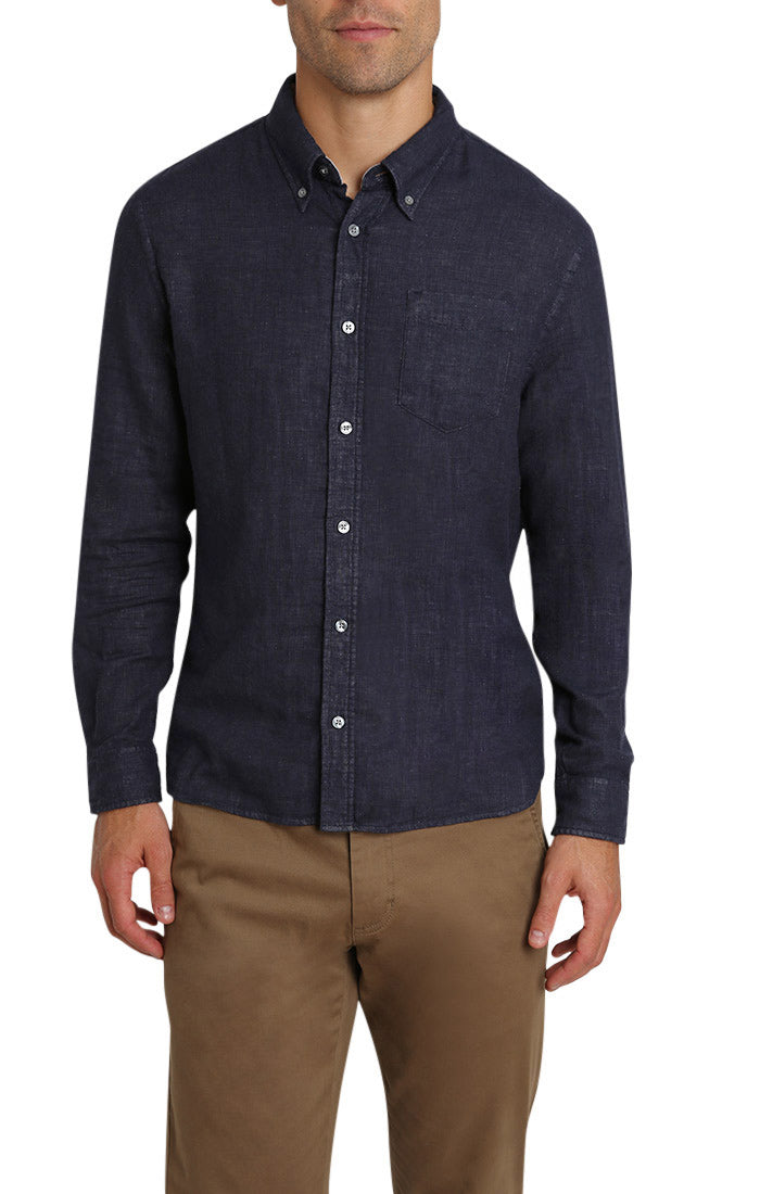Navy Stretch Double Face Shirt - jachs