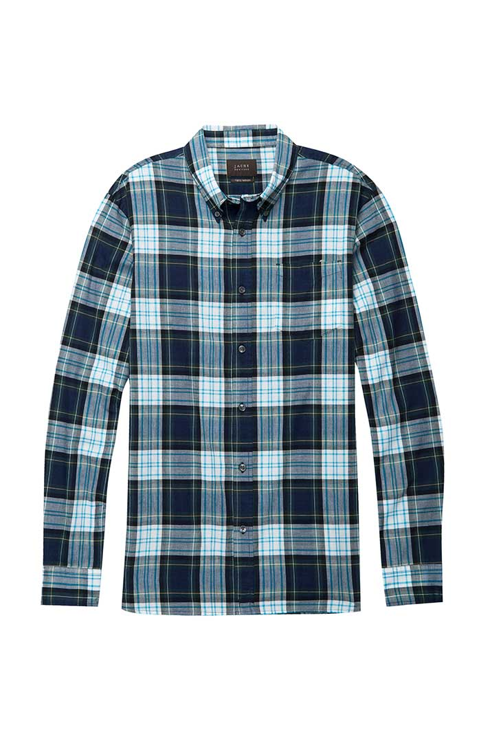 White and Navy Plaid Poplin Shirt