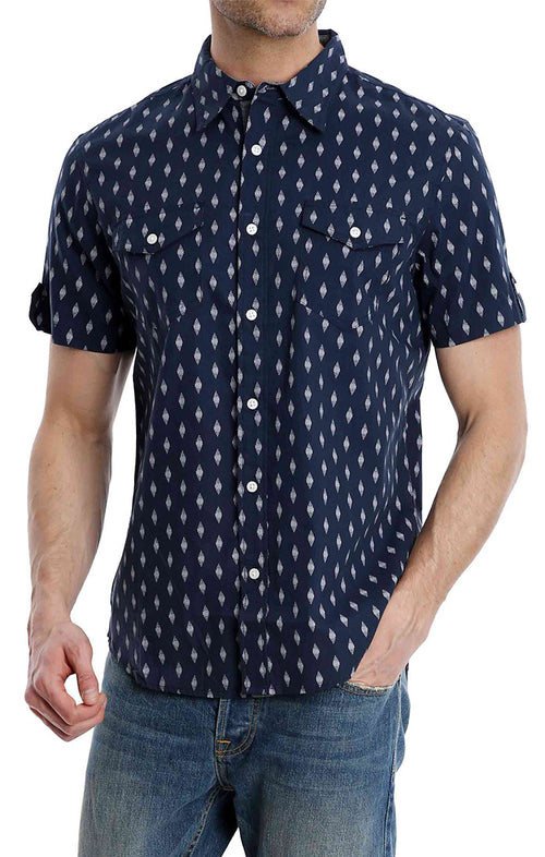 Navy Diamond Print Short Sleeve Shirt - jachs