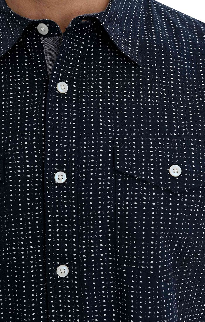 Navy Polka Dot Print Short Sleeve Shirt