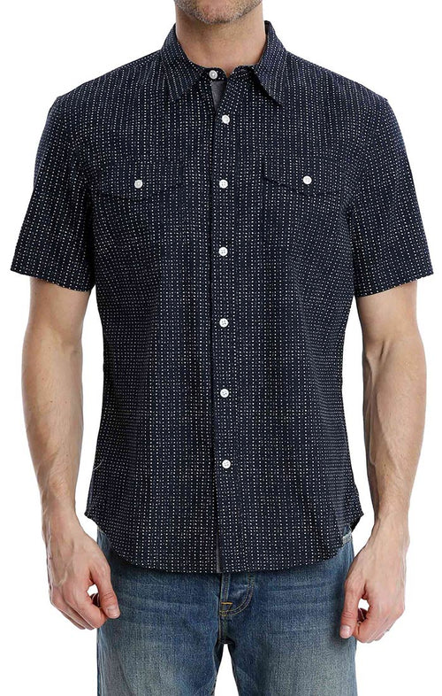 Navy Polka Dot Print Short Sleeve Shirt - jachs