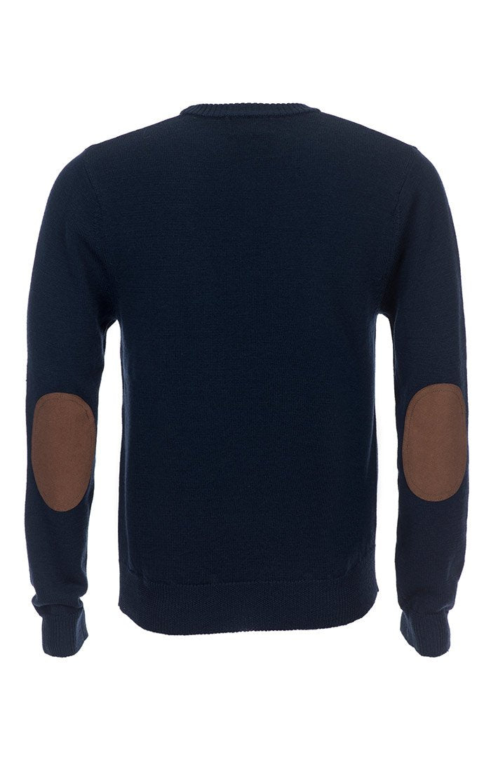 Navy Merino Wool Elbow Patch Crewneck - jachs