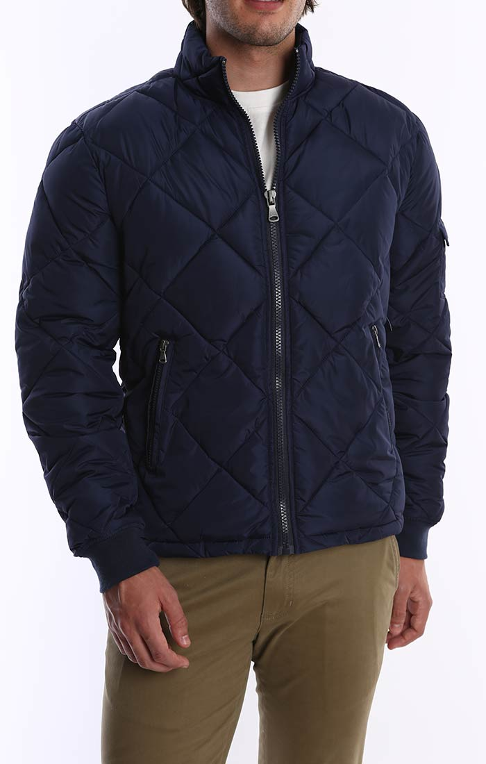 Blue Quilted Puffer Jacket - jachs
