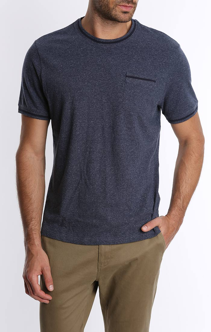 Navy Cotton Linen Ringer Tee