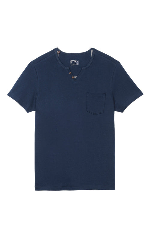 Navy Short Sleeve Split V Tee