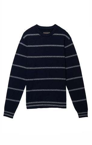 Blue Striped Fleece Crewneck Sweatshirt