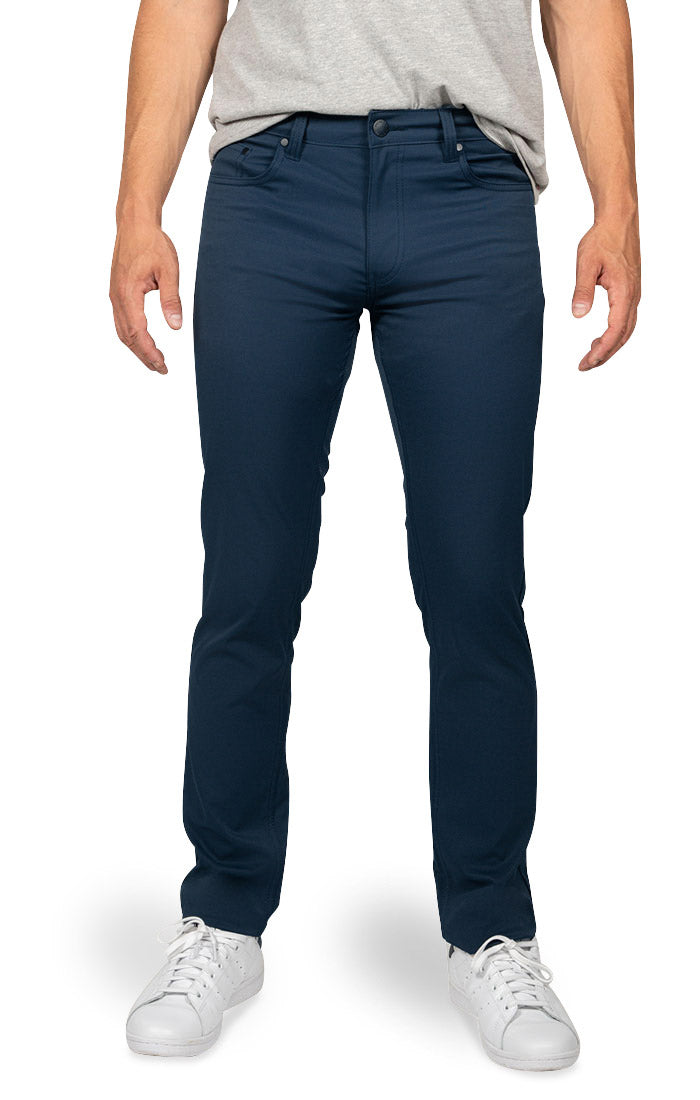 Navy Straight Fit Stretch Tech Pant - jachs