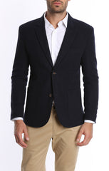 Navy Wool Blend Flannel Blazer
