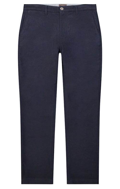 Navy Wool Blend Flannel Pant - jachs