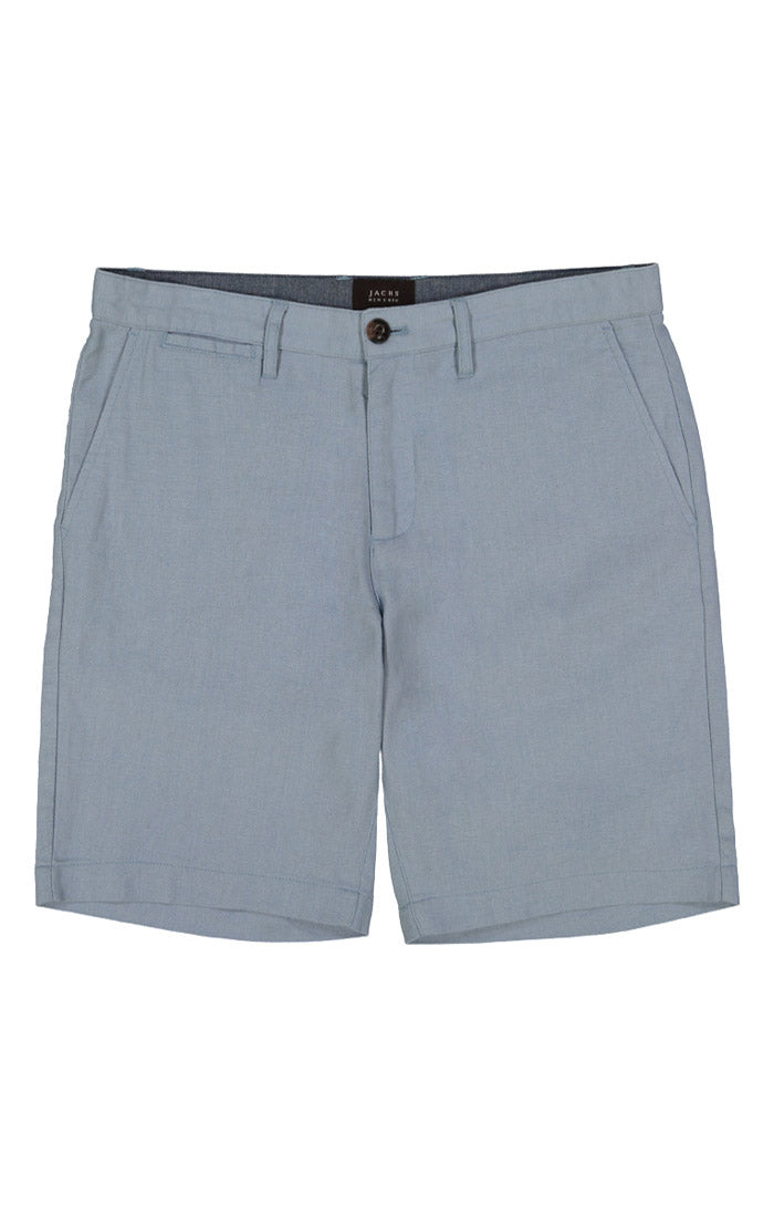 Light Blue Herringbone Cotton Linen Short