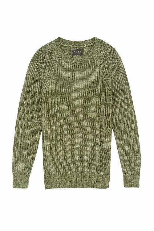 Olive Marled Ribbed Crewneck Sweater