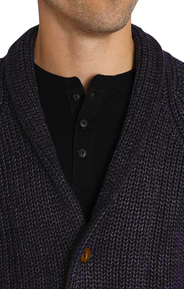 Navy Marled Ribbed Shawl Cardigan - jachs