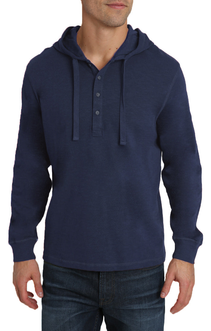 Indigo Slub Cotton Hooded Henley - jachs