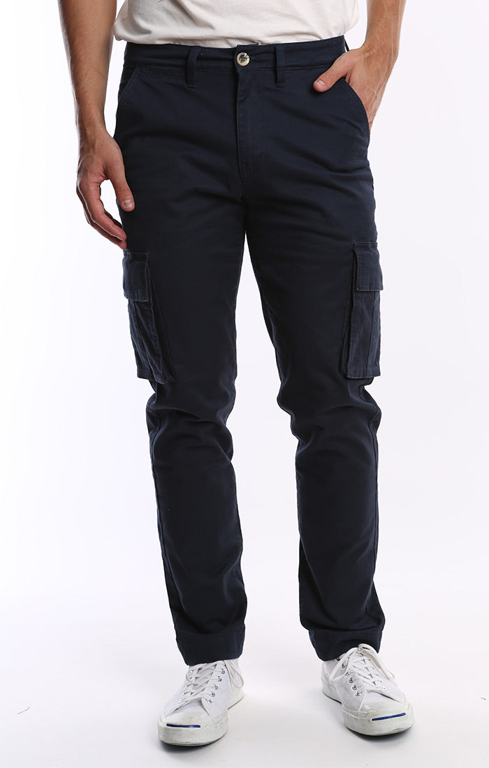 Navy Stretch Flannel Lined Cargo Pant - jachs