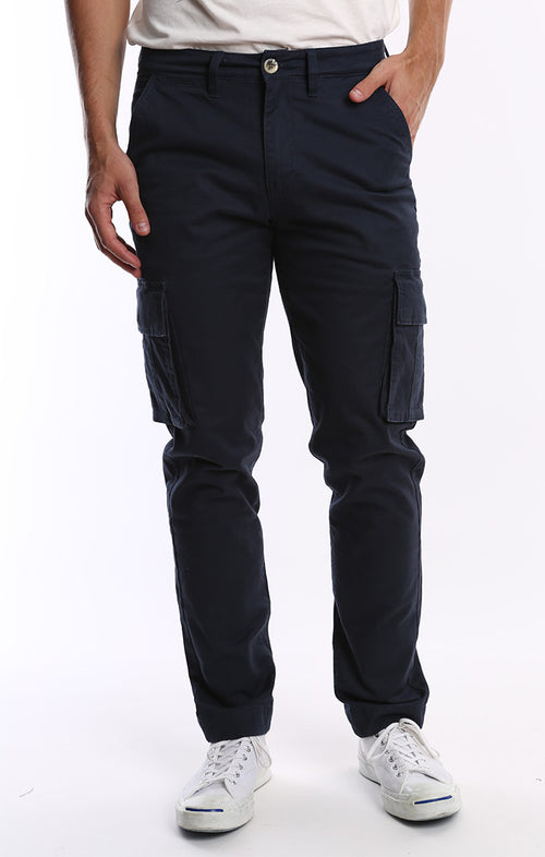Navy Stretch Flannel Lined Cargo Pant